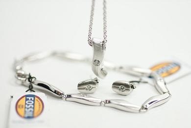 Schmuckset silber  FOSSIL Damen 925 Silber Schmuckset Halskette JF15340 + Armkette ...